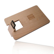 Company promotion gift wood card usb flash drive,full color logo credit card wood usb