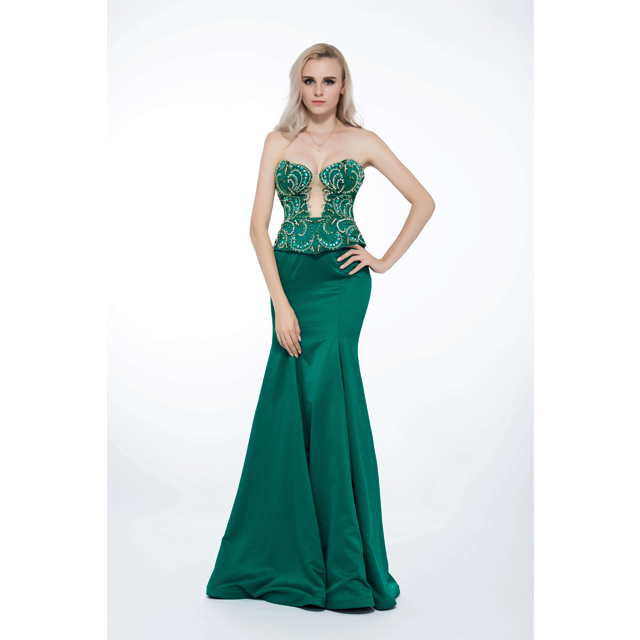 Beaded Fish Tail Hollywood Style Olive Green Eastern Evening Dresses