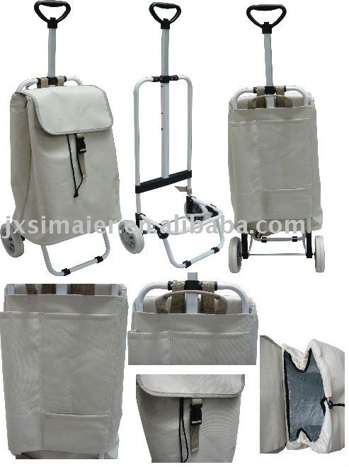 foldable shopping trolley with cooler bag