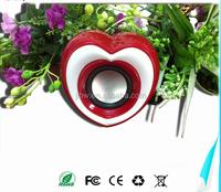 Valentine's Day Gift New heart shape plastic PC mobile phone mp3 used USB 2.0 speaker