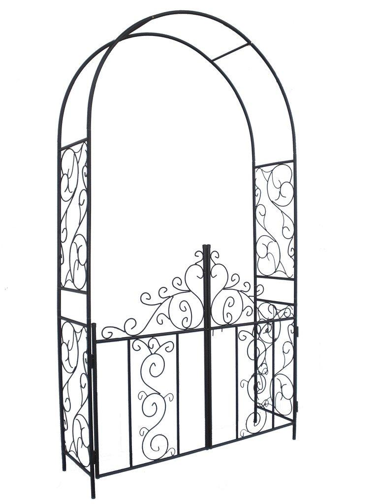 Go Steel Garden Arch With Gate, 7u00275 High X 4u0027