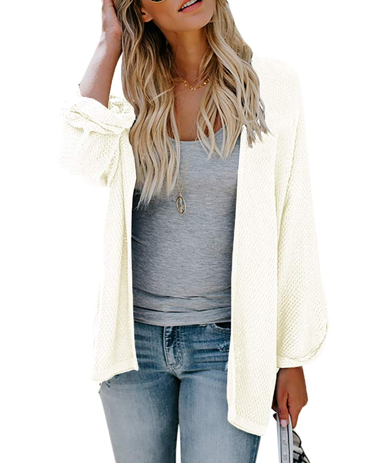 Ofenbuy Womens Cardigans Casual Lightweight Open Front Long Sleeve Loose Knit Sweaters