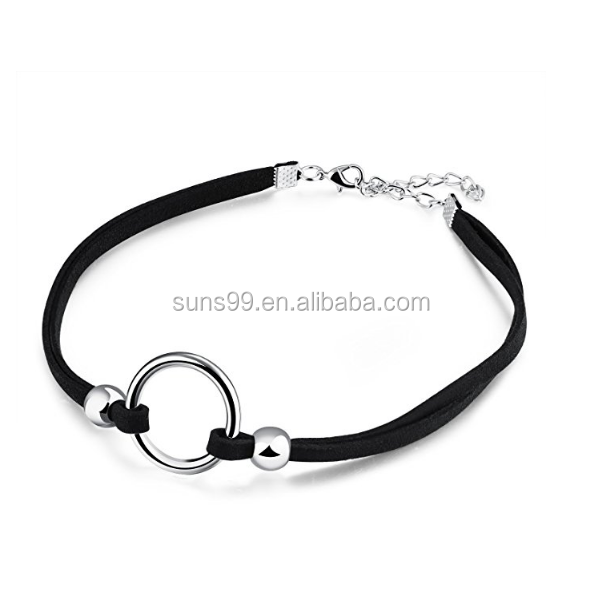 Wholsale Leather Choker Womens Black Leather Choker Necklace Sexy Circle Ring Tattoo Wrap Collars Necklace