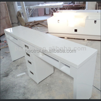 Double White Nail Table Used Bar Furniture Technician Tables