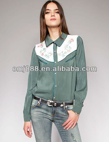 Restoring ancient style embroidery flower contrast color splice shirt