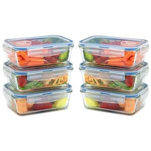 Hot selling 6 pack 28 oz glass meal prep bento lunch box