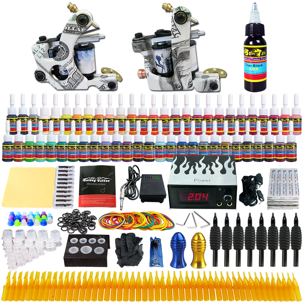 Solong Tattoo 54 Kleuren Inkt set Naald Tip Grip Starter tattoo kit