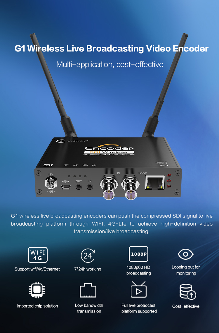 4G/WIFI Video Processor 1080P SD HD SDI to RTSP Video Encoder