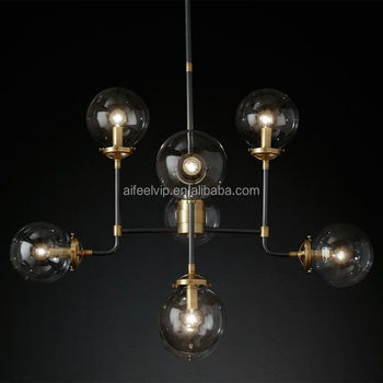 Antique brass copper wrought iron hand blown globe glass lamp shade chandelier pendant light for hotel