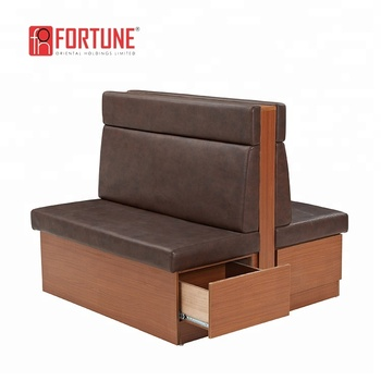 Double Sided Customized Restaurant Sofas For 4 Seats With Storage