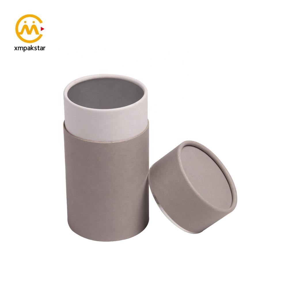Factory outlet grey cardboard round custom logo print paper tube can packaging for food