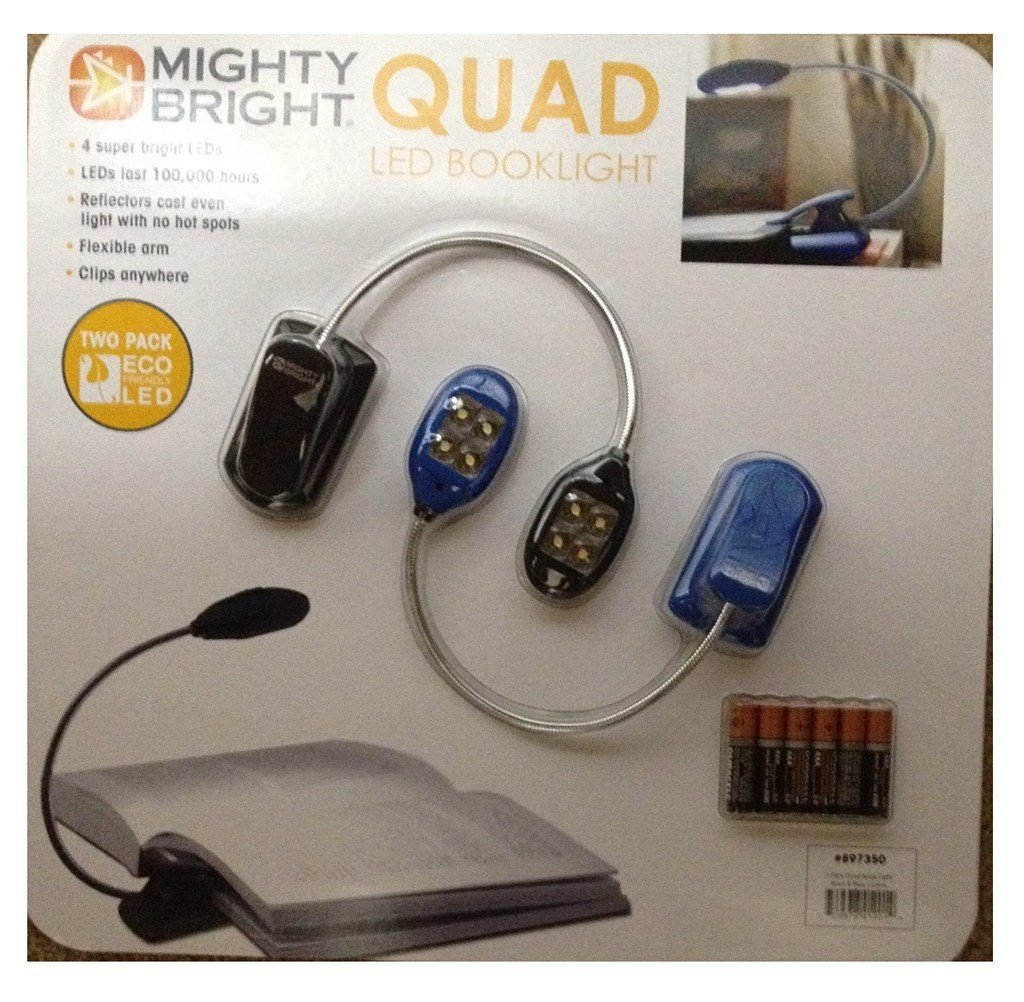 Mighty Bright Quad Booklight ECO Friendly LED Two Pack Black & Blue