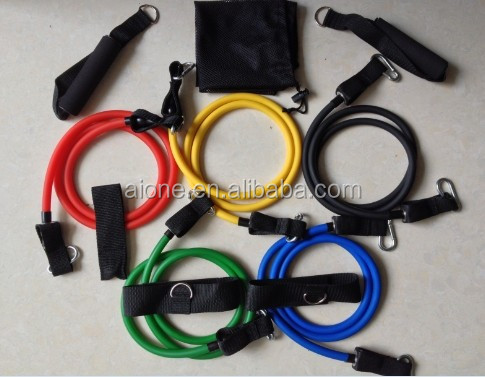latex tube with soft handle 11pieces resistance band A-T0021