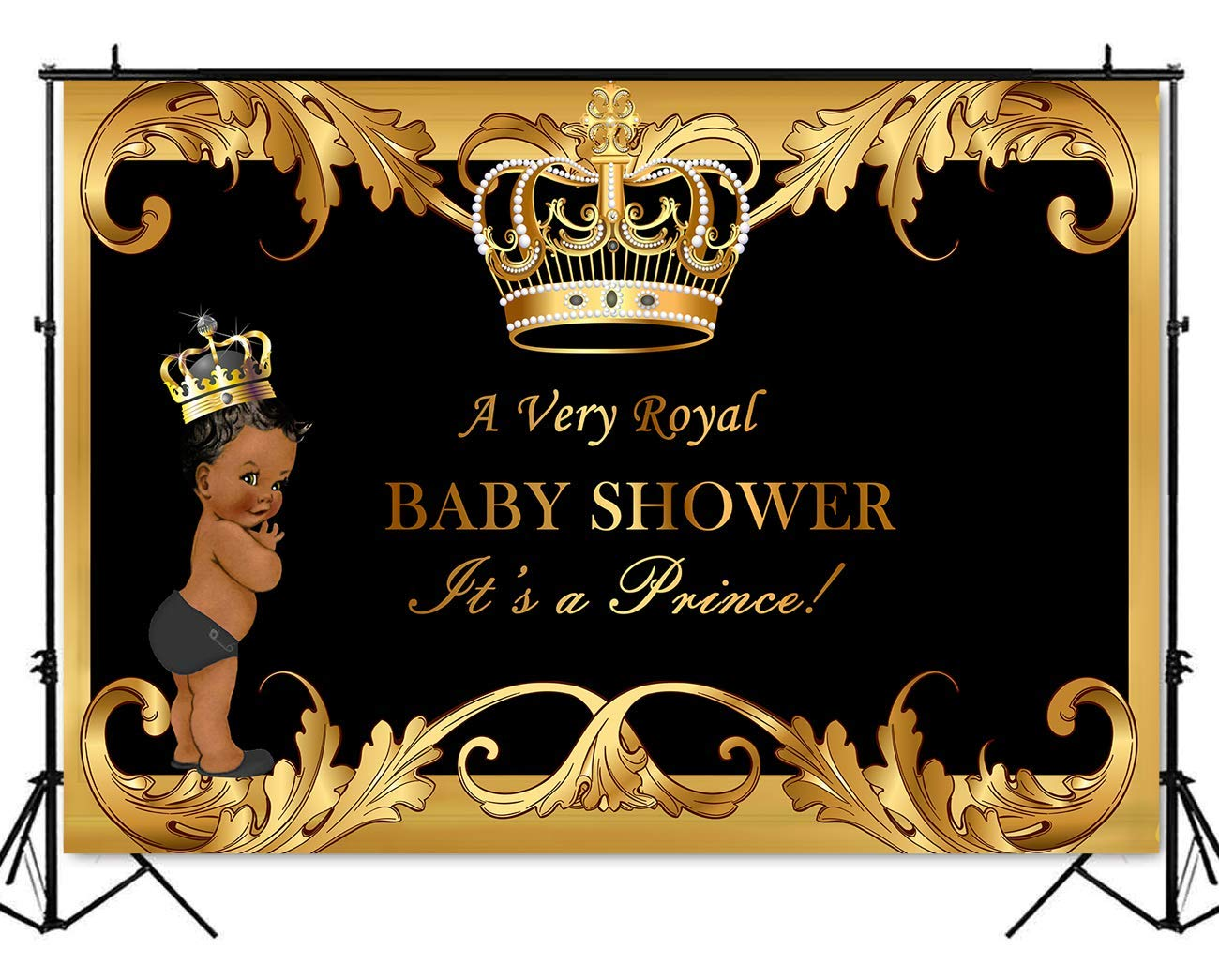 Mehofoto Royal Baby Shower Backdrop Little Prince Black Gold Photography Background 7x5ft Poly Cotton Royal Black Baby Shower Party Banner Backdrops