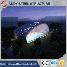 Main steel structure and space frame and glass curtain wall swimming pool