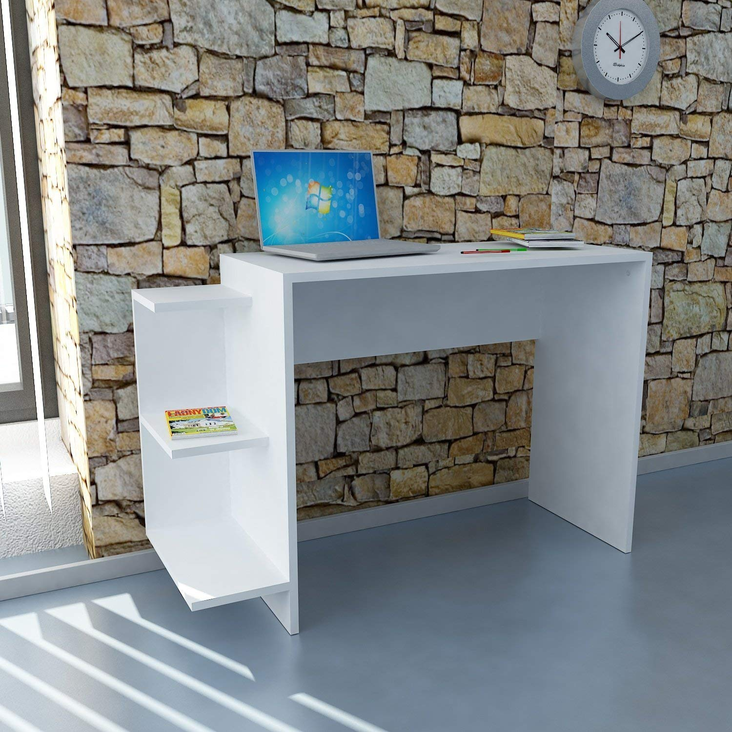 Writing Computer Desk Modern & Simple White One Color Functional Decorative Stylish Stable Study Desk Industrial Style Study & Laptop Table for Home, Office, Living Room, Study Room