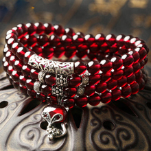 Authentic natural 6A wine red garnet women's birthday gift national wind crystal bracelet