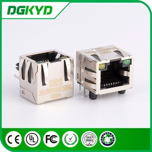 Factory price single port right angle metal shielded rj45 lan jack , Tab up , LED