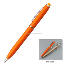 hot selling promotional product orange stylus touch pen,2 in 1 touch screen pen
