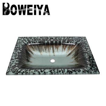 Factory Price Fancy Thick Glass Rectangular Molded Bathroom Vanity Tops