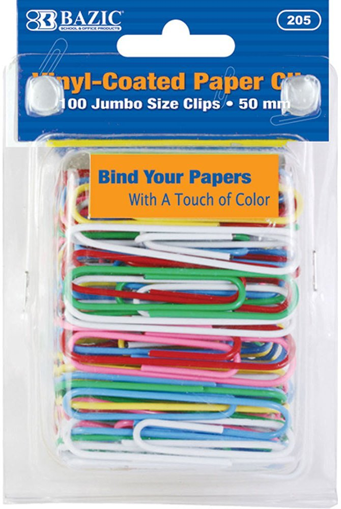 Bazic Large (50Mm) Color Paper Clips - 100/Pack [72 Pieces] - Product Description - Bazic Large (50Mm) Color Paper Clips (100/Pack). Pack: 100 ...