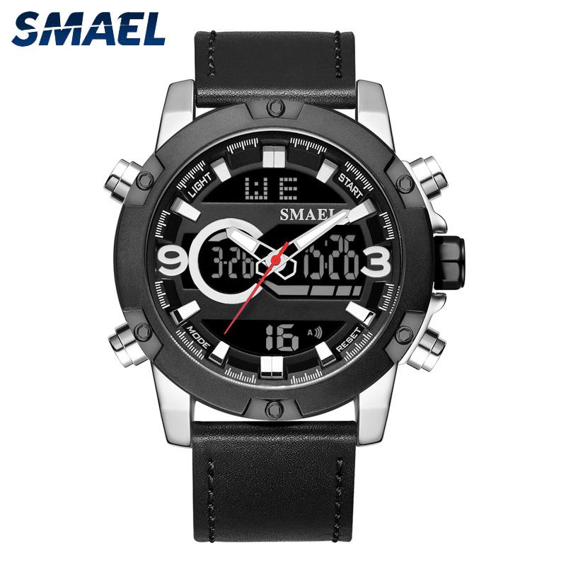 Men alloy watches leather strap quartz digital dual time water resistant sport watch фото