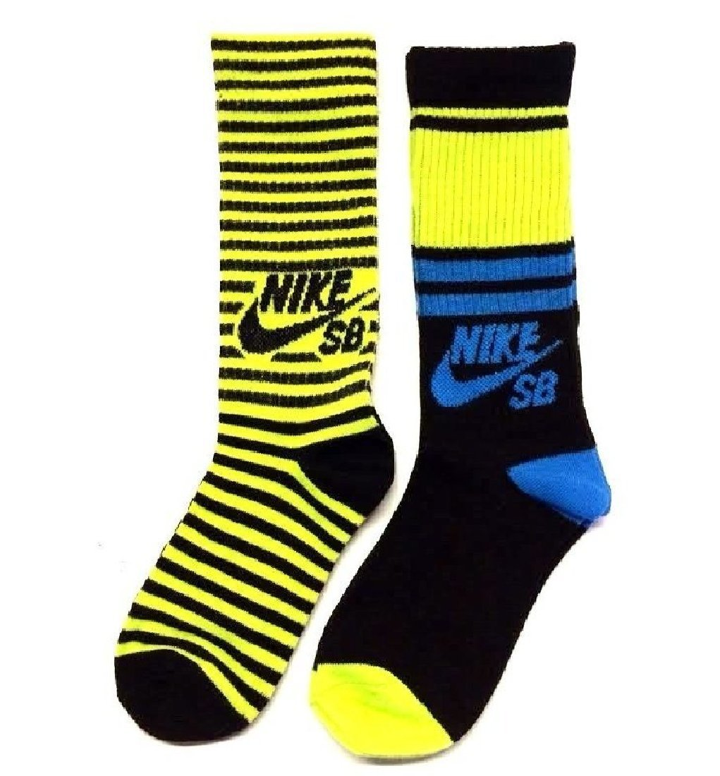 Nike SB 2 Pairs/Pack Boy's Crew Socks, Youth, Flo Green 3Y-5Y