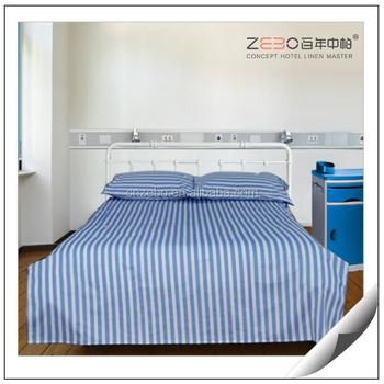 Custom Hospital Bedding Sets Cotton Blue Stripe Hospital Bed Cover