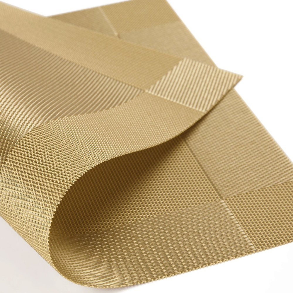 Tabel Place Mat, CFStroe@ [Pack of 6] PVC Dining Room Placemats for Table Heat Insulation Stain-resistant Woven Vinyl Kitchen Placemat Vinyl Placemats (Gold XCD-X6-02)