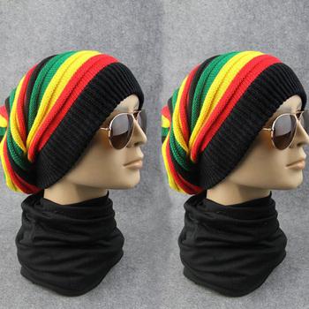 07e84637121 high quality jacquard resta beanie hat unisex fashion rasta beanie rainbow  color baggie Style slouchy beanie