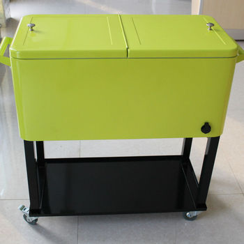 Metal Patio Cooler Box With Wheels Retro Cooler Boxes (C 006)