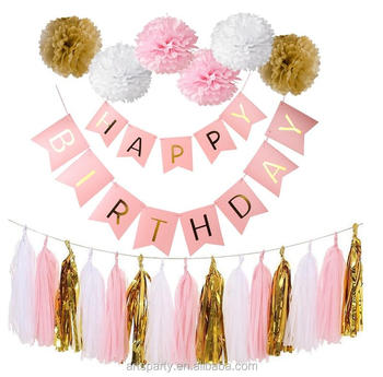 happy birthday banner big size rose gold for party decorations