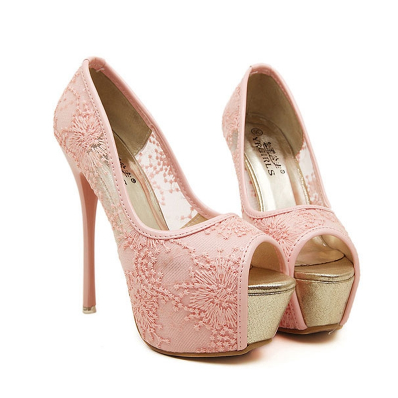 dfbbf3baa97 Get Quotations · New White Women Pumps Lace Sexy Peep Toe Wedding Shoes  Party Pumps Platform High Heel Sandals