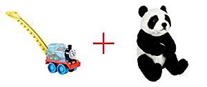 Fisher-Price Thomas the Tank Engine Corn Popper and Toys R Us Plush 7.5 inch Panda Bear - Black/White - Bundle