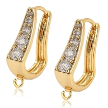 98131 xuping 14k gold plated jewelry findings+huggies drop synthetic cz copper alloy accessories earring finding