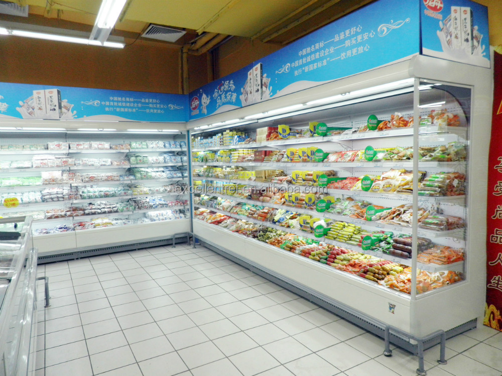 refrigerated display cases for pastries of upright multideck cabinet type in supermarket