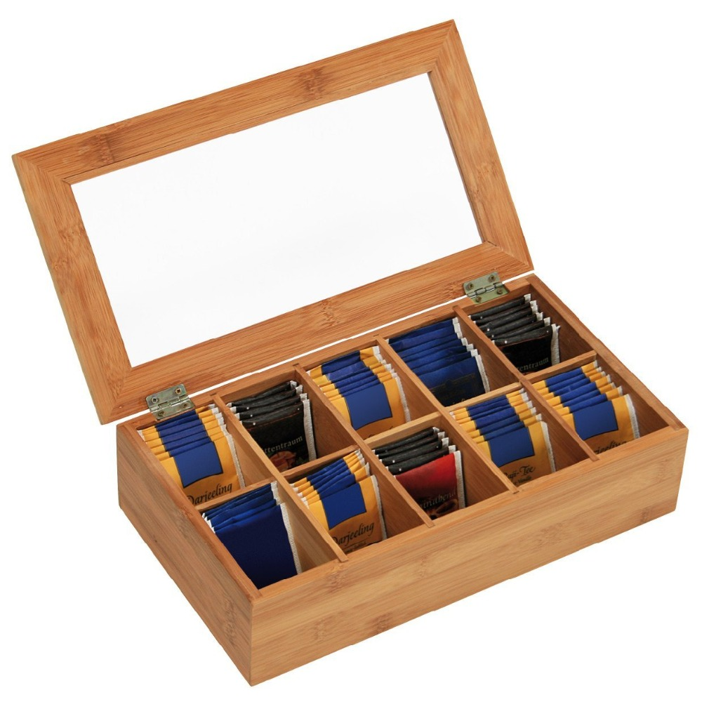 oem bamboo wooden tea chest storage box with clear lid