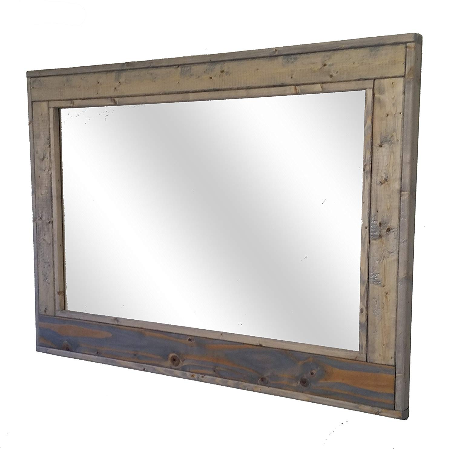 Get Quotations Herringbone Large Mirror 42 X 30 Horizontal Framed Stained In Weathered Oak Reclaimed Wood