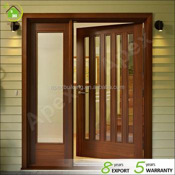 Walnut Wood Framed Commercial Main Door Designs Double Glass Doors