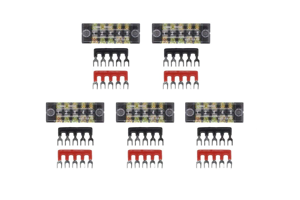 5 Sets Terminal/Barrier Strips inclub 5pcs 5 Positions 600V 25A Dual Row Screw Terminal Blocks with Cover + 10 x 400V 15A 5P Fork Type Terminal Stripe (Red:5, black:5)