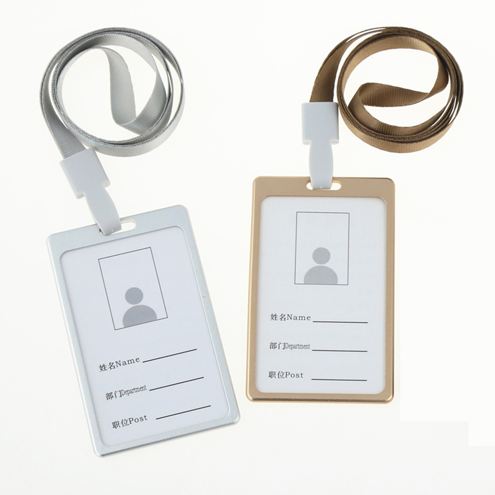 Business Card Aluminum Badge Holder Aluminum Card Holder with Lanyard