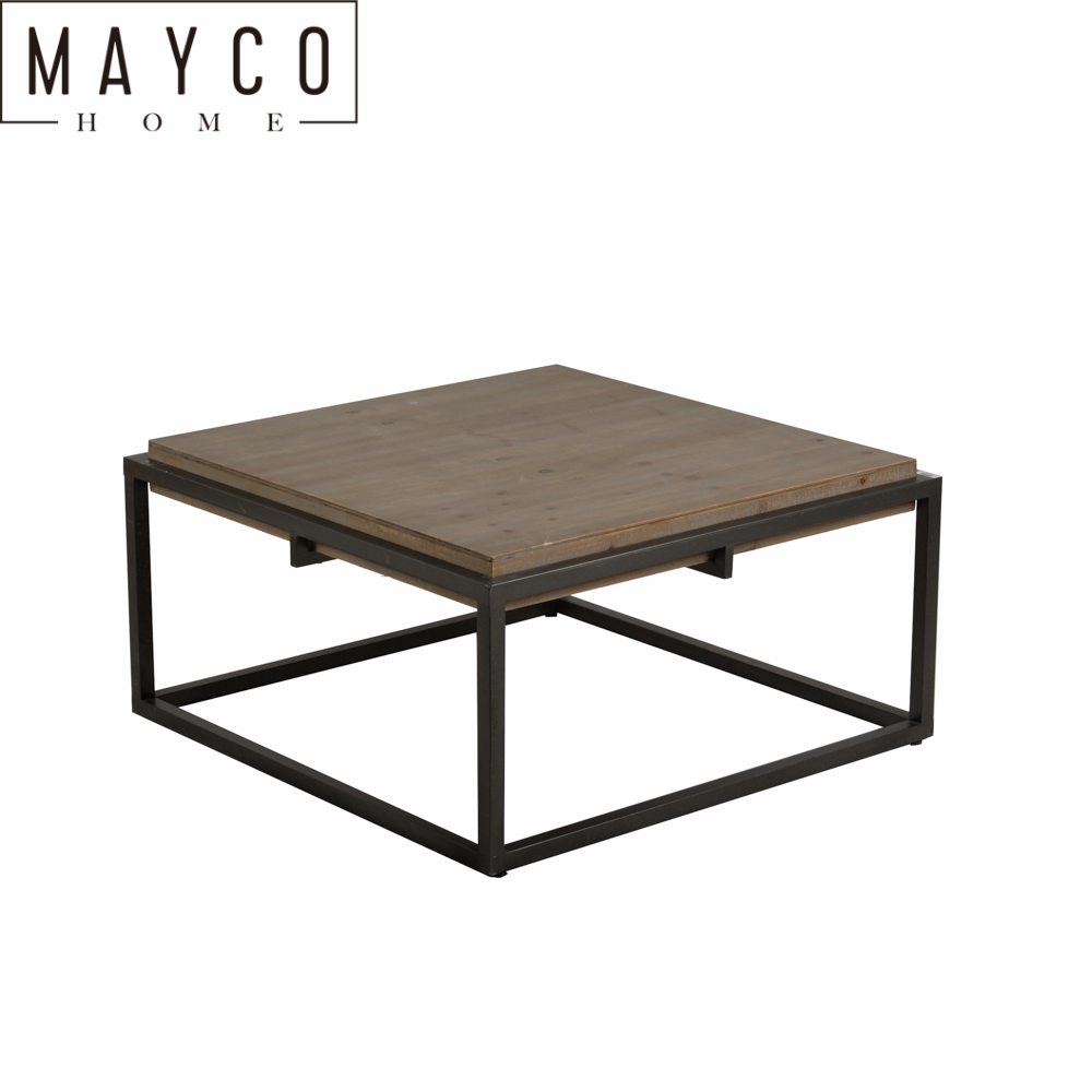 Mayco Industrial Space Saving Sofa Couch Living Room Furniture Metal Box Frame Dark Walnu Solid Wood Square Coffee Table Modern