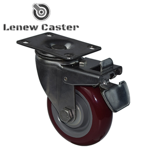 Red pu top plate with brake trolley caster wheel