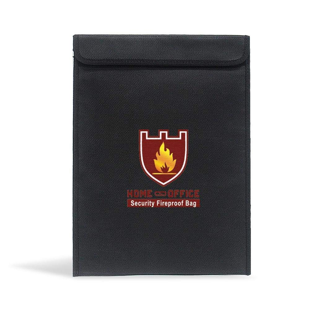 """Fireproof Document Bag - 15"""" x 11"""" Fire Resistant, Water Proof, Non- Itchy Silicone - Fire Safe Storage for Money, Notes, Passport, Documents, Phones and Jewelry"""