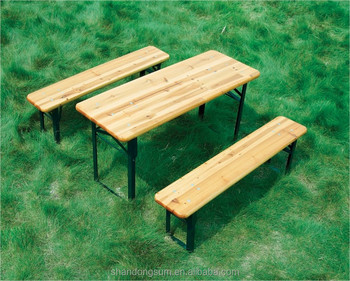 Wooden Folding Beer Table Bench Set Trestle Buy Folding Picnic
