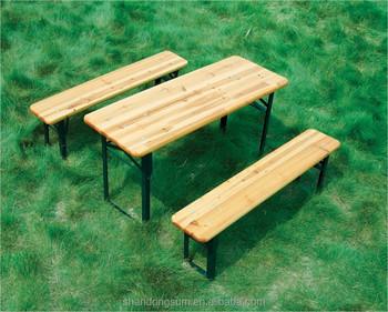 Wooden Folding Beer Table Bench Set Trestle