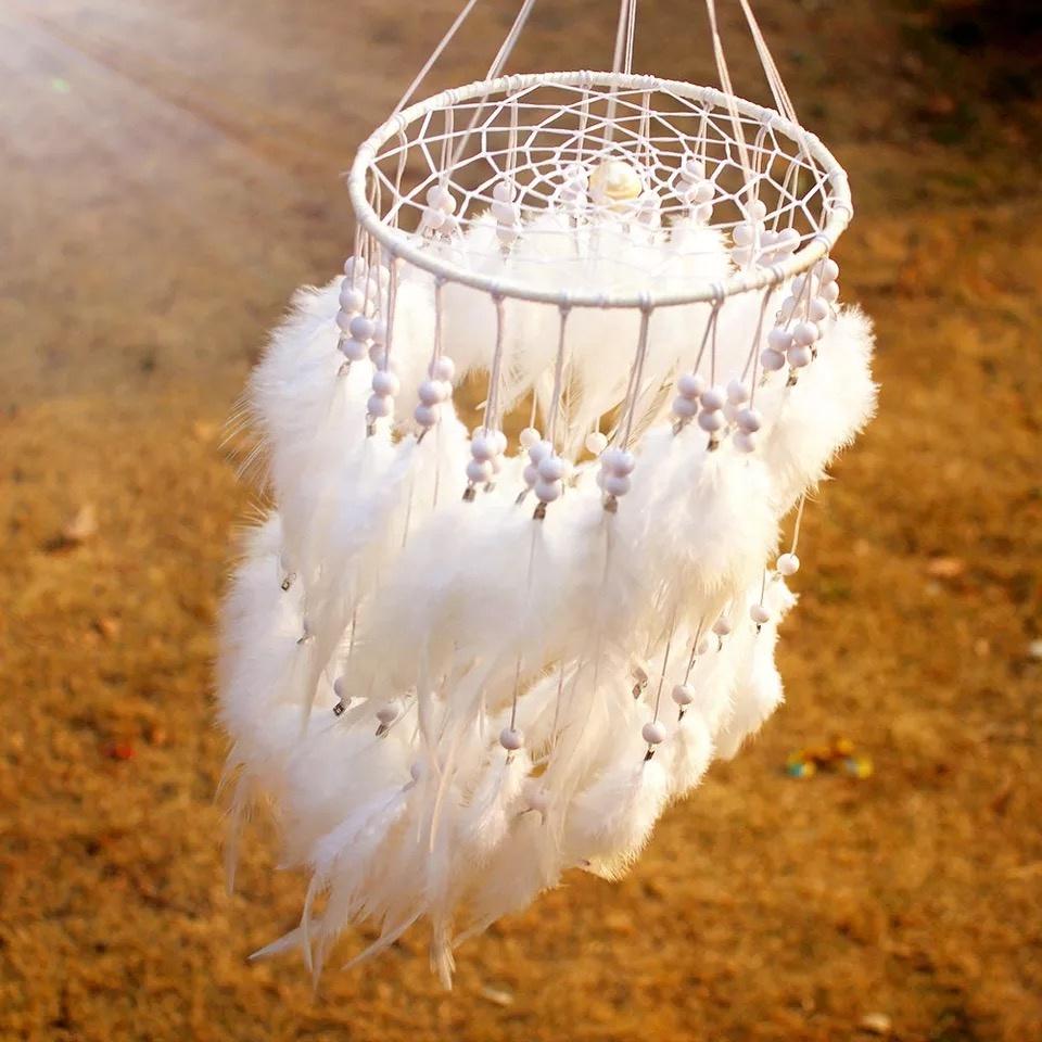 Hot Menjual Besar Bulu Dreamcatcher Lampu Dream Catcher