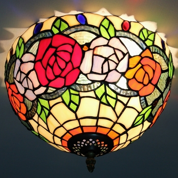 Home Decorative Tiffany Style Floral Ceiling Lamps Handmade Art Lights