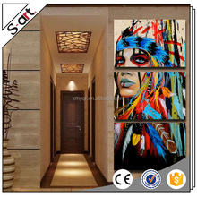Abstract colorful indians feathered modern canvas oil paintings art