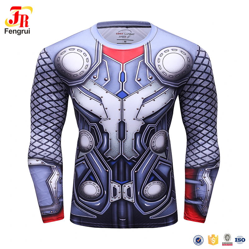 2017 custom print t-shirt spamdex polyester Tshirt 3d sublimation printed the avenger t shirt mens rash guard
